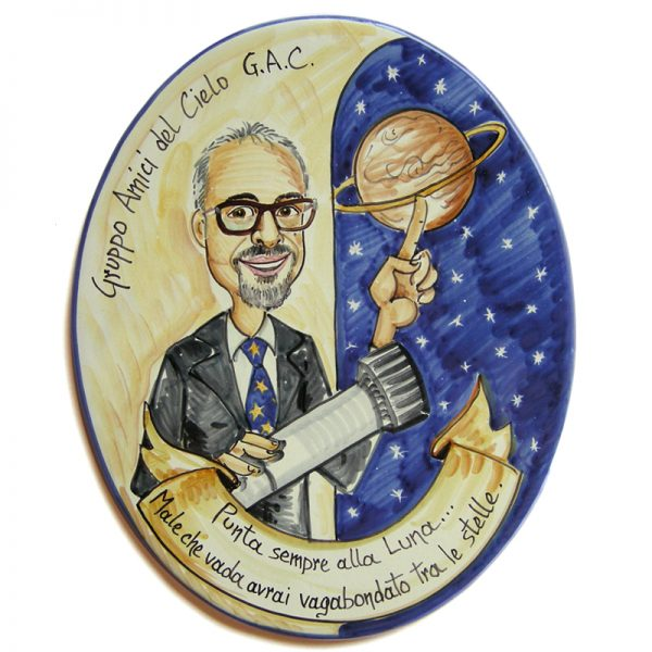 targa ceramica mestiere astronomo umoristico caricatura regalo, ceramic tile hand painted caricature cartoon style for astronomer