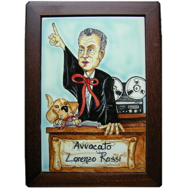 targa ceramica mestiere avvocato umoristico caricatura dipinta a mano, ceramic tile hand painted caricature cartoon style for lawyer