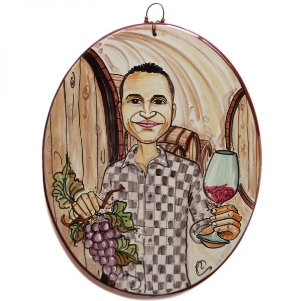 targa ceramica mestiere regalo personalizzato enologo caricatura dipinta a mano, ceramic tile hand painted caricature cartoon style for winemaker