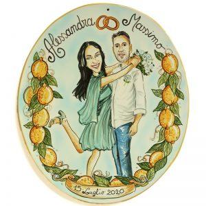 targa ceramica regalo matrimonio personalizzato idea sposi umoristico, Wedding custom gift handpainted ceramic tile marriage