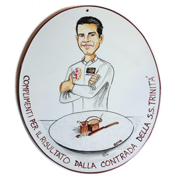 targa ceramica regalo personalizzato dedica complimenti caricatura dipinta a mano pasticcere, ceramic tile hand painted caricature