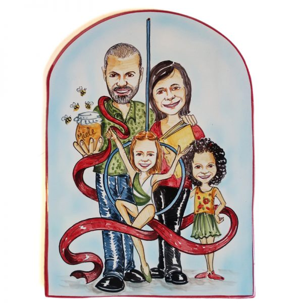 targa ceramica regalo quadro famiglia regalo personalizzato, custom ceramic tile caricature comics style for family