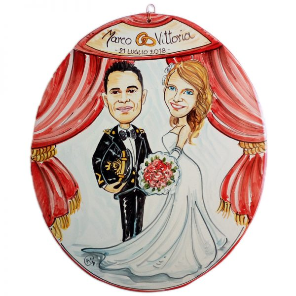 targa ceramica regalo sposi personalizzato idea matrimonio, Wedding custom gift handpainted ceramic tile marriage