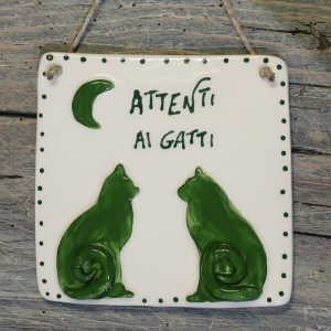 targa con gatti e luna in ceramica personalizzata, ceramic plaque with cats and moon customizable