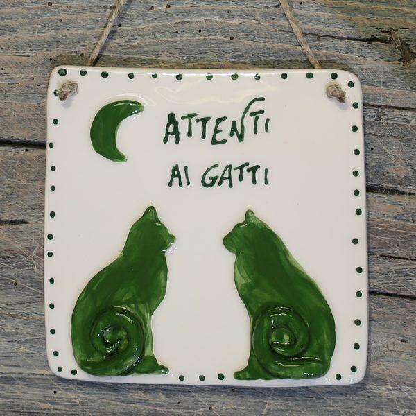 targa con gatti e luna in ceramica personalizzata, ceramic plaque with cats and moon customizable