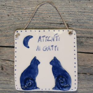 targa in ceramica con gatti personalizzata per amanti dei gatti, customized ceramic tile with cats gift for cat lovers