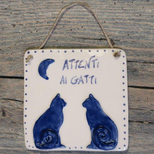 targa in ceramica con gatti personalizzata per amanti dei gatti, customized ceramic tile with cats gift for cat lovers