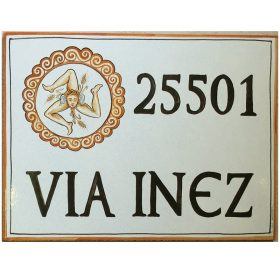 targa in ceramica con stemma, crest on ceramic plate