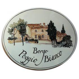 targa in ceramica per resort toscana, ceramic plate for tuscan resort
