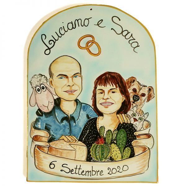 targa personalizzata caricatura ceramica regalo Matrimonio nozze , Wedding custom handpainted ceramic tile cartoon marriage