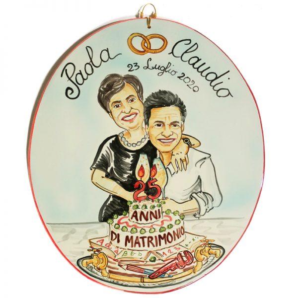 targa personalizzata ceramica Anniversario Matrimonio 25 anni Nozze Argento 50 anni Nozze Oro, Wedding Anniversary custom handpainted ceramic tile