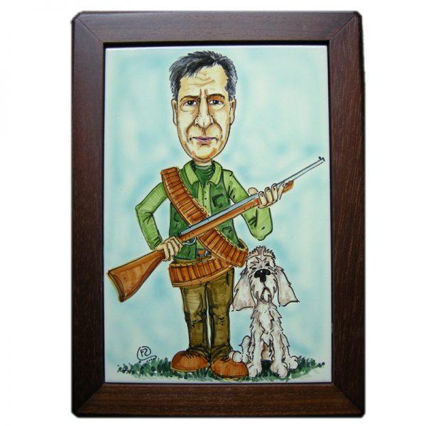 targa personalizzata regalo cacciatore compleanno festa pensione, custom tile gift hunter dog lover