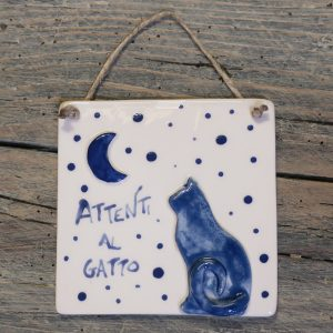 targhetta in ceramica con gatto e luna, ceramic plaques with cat and moon