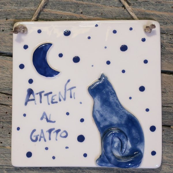 targhetta in ceramica con gatto personalizzabile, customizable plate in ceramic with cat