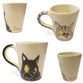 tazze in ceramica con gatto personalizzate, mug with cat and name