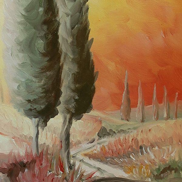 tela dipinta ad olio Toscana paesaggio con cipressi, painting oil on canvas Tuscany landscape with cypress