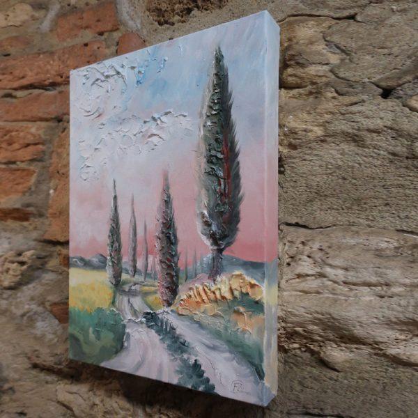 tela dipinta ad olio paesaggio toscana, landscape painting oil on canvas