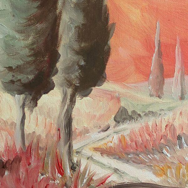 tela quadro dipinto ad olio con paesaggio, landscape painting oil on canvas