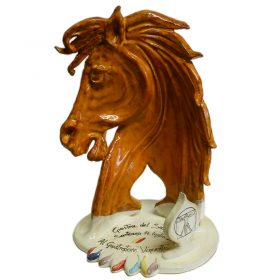 trofeo cavallo ceramica, ceramic horse for prize