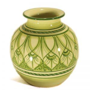 vaso a sfera in ceramica verde, ceramic sphere vase handmade in Tuscany green color