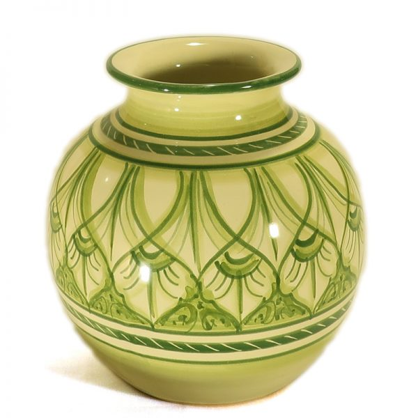 vaso a sfera in ceramica verde, ceramic sphere vase handmade in Tuscany green color