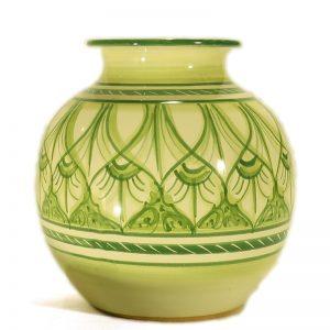 vaso a sfera verde ceramica toscana, ceramic sphere green vase handmade in Tuscany