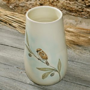 vaso ceramica passerotto dipinto a mano uccelli ceramica toscana, ceramic vase with sparrow and olive branch hand-painted ceramic birds collection