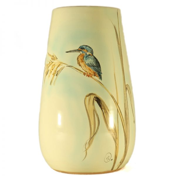 vaso ceramica uccelli dipinto a mano con martin pescatore e canne, ceramic vase with kingfisher and lake reeds hand-painted ceramic birds collection