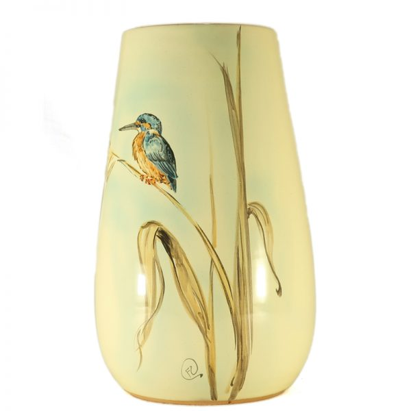 vaso ceramica uccelli dipinto a mano con martin pescatore e canne di lago, ceramic vase with kingfisher and lake reeds hand-painted ceramic birds collection