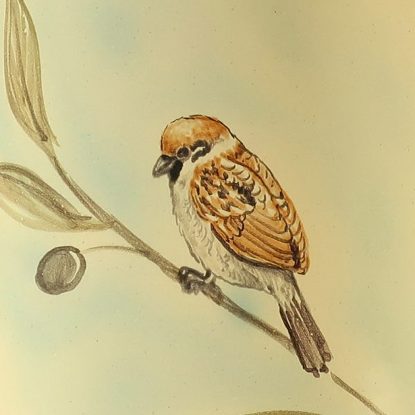 vaso ceramica uccelli dipinto a mano con passerotto e ramo ulivo, ceramic vase with sparrow and olive branch hand-painted ceramic birds collection