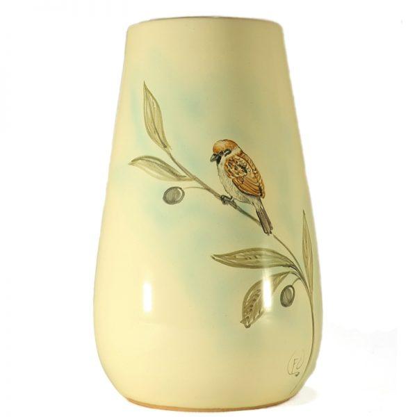 vaso ceramica uccelli dipinto a mano con passerotto e ramo ulivo, ceramic vase with sparrow hand-painted ceramic birds collection