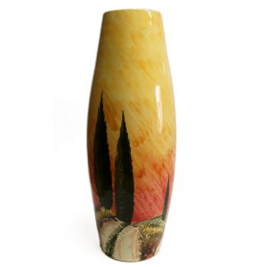 vaso con paesaggio, pottery vase with painting landscape