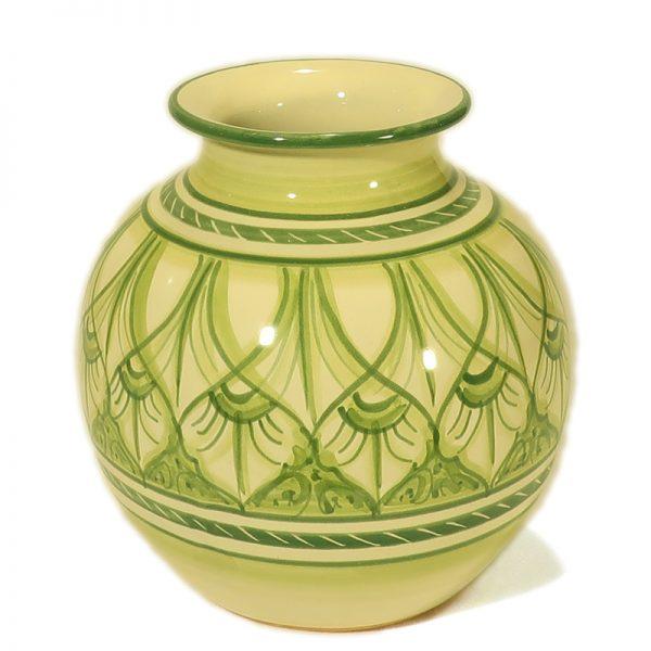 vaso da fiori sfera verde ceramica artigianato toscana, ceramic sphere green vase handmade in Tuscany