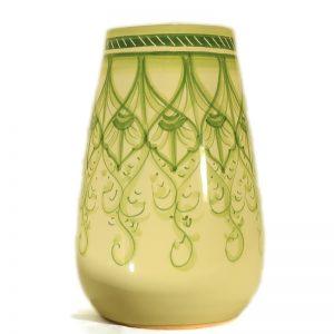 vaso da fiori verde dipinto a mano ceramica artistica toscana, green vase in ceramic handpainted in tuscany