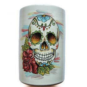 vaso in ceramica con teschio, ceramic vase with skull
