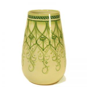 vaso verde dipinto a mano ceramica artistica toscana, green vase in ceramic handpainted in tuscany