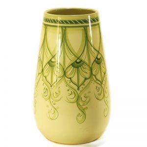 vaso verde in ceramica dipinto a mano, green vase in ceramic handpainted in tuscany