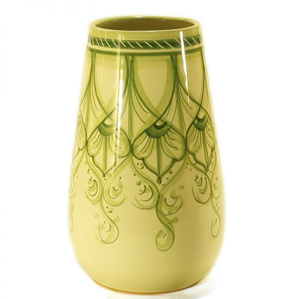 vaso verde in ceramica dipinto a mano, green vase in ceramic handpainted in tuscany